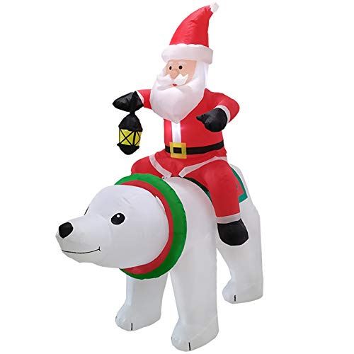 6ft Christmas Inflatables Outdoor Decorations, Light Up Santa Clause Riding The Polar Animation Bear with Lantern Light, Nightmare Before Christmas Inflatable Holiday Yard Outdoor Decor (Multicolor) -  Harpi