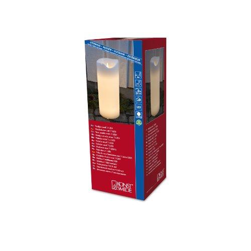 Konstsmide 1952-100 LED Echtwachskerze mit zerlaufender Wachsoptik / für Außen (IP44) / 24V Außentrafo / 30cm groß / 1 warm weiß flackernde Diode
