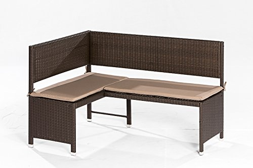 gartenmoebel-einkauf Eckbank Graz 148x100cm, Stahl + Polyrattan Mocca, mit Auflage Creme