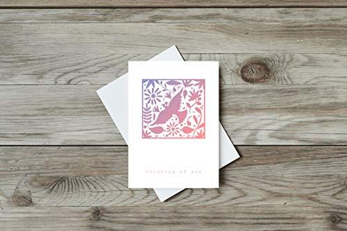 Grusskarte ''thinking of you'', Postkarte, Recycling, Mexico, Folk Art, Tiere, Blumen, Umzug, Beileid, Karte, Trauer, Gedanken, Blumen, rot,