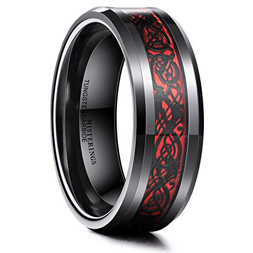 MISTERINGS Red & Black 8mm Men Tungsten Carbide Wedding Promise Rings for Him Celtic Dragon Comfort Fit Band Water Resistant (Size 7.5)