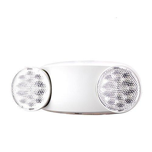 SPECTSUN Emergency Light White, Commercial Emergency Light with Battery Backup, White Emergency Light Home/Emergency Light Fixture/Emergency Sign/Emergency Light Fixture - 2 Pack (Round Head)