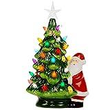 Lulu Home Ceramic Christmas Tree, 13 Inch LED Light Up Ceramic Tabletop Christmas Tree...