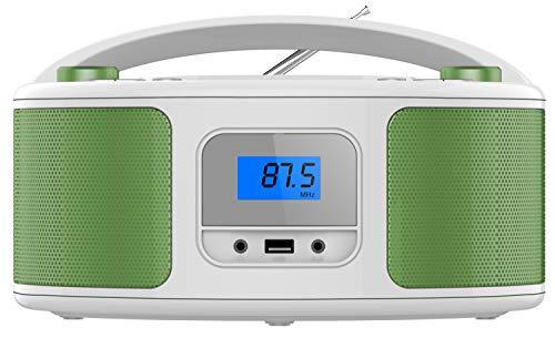 Tragbarer CD-Player | Boombox | CD/CD-R | USB | FM Radio | AUX-In | Kopfhöreranschluss | CD Player | Kinder Radio | CD-Radio | Stereoanlage | Kompaktanlage (Golo Green)