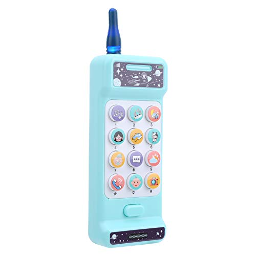 Atyhao Máquina de teléfono para niños, música Juguete para teléfono móvil para niños Juguetes vocales electrónicos educativos Juguete para teléfono para bebés Máquina de Aprendizaje(Azul)