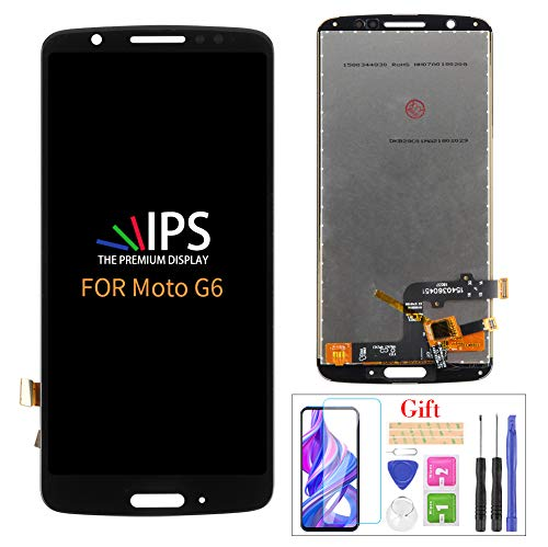 Compatible with Moto G6 Screen Replacement,for Motorola Moto G6 XT1925 XT1925-5 XT1925-6 LCD Display Touch Screen Digitizer Assembly Parts,with Screen Protector+Tools(Black no Frame)