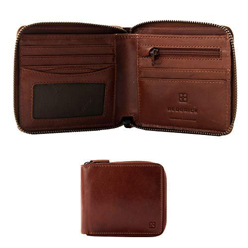 Backstein Logan Luxus Herren Braun Leder Zip um Brieftasche für Kreditkarten, Banknoten ID Fenster & Reißverschluss Münzen Tasche in Geschenkverpackung
