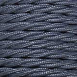 Cable eléctrico vintage trenzado en color Plomo. Bobina de 5 metros de 2 núcleos x 1,5 mm de sección.