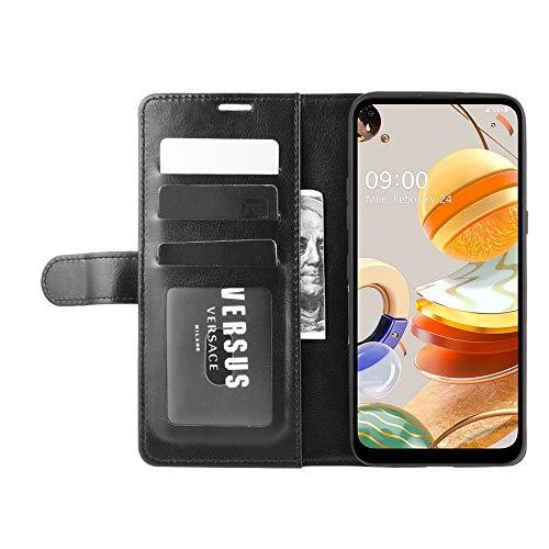 DAMAIJIA Funda Movil para LG K61 Carcasa Cuero PU Silicona Magnetic Wallet Protector Teléfono Flip Back Cover For K61 LG K61 K 61 LGK61 2020 Tapa con Soporte (Black)