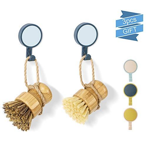Juego de cepillos de bambú para fregar platos, 2 piezas de cepillo de palmera con 3 ganchos para limpiar sartenes y verduras, baño cocina y limpieza doméstica