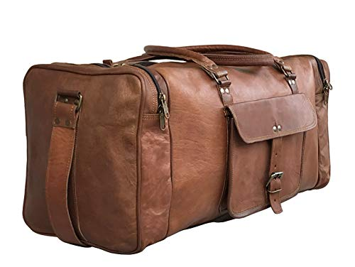24 Inch Genuine Leather Duffel | Travel Overnight Weekend Leather Bag | Sports Gym Duffel for Men (25 inch)