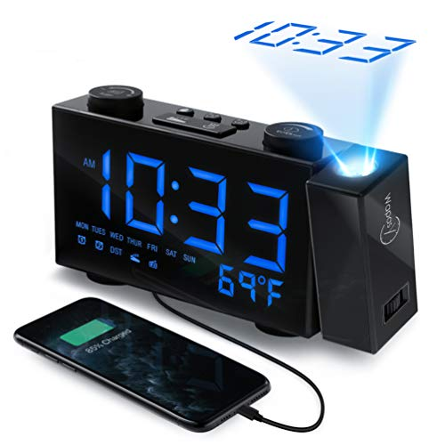 WAPASY Projection Alarm Clock - Dual Alarm Clock for Bedroom, Digital FM Radio Alarm Clock with USB Port and Indoor Thermometer, 6' LED HD Display Projection Clock, 12/24 Hour