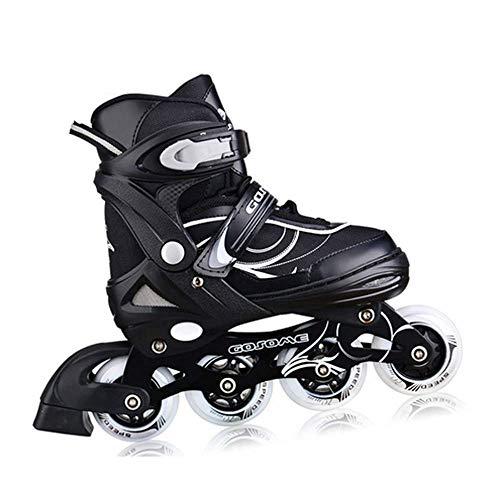 GZH 4 Räder Verstellbare Inline-Rollschuhe Klingen Kinder Erwachsene Kinder Jungen Mädchen,Black-M