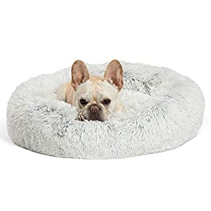 Best Friends by Sheri The Original Calming Donut Cat and Dog Bed in Shag Fur, Machine Washable, for Pets up to 25 lbs. – Small 23″x23″ in Frost