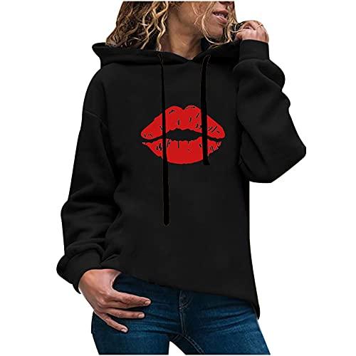 Mujeres Sexy labios impresión Color sólido sudadera suelta manga larga cordón deportes sudaderas Tops, negro06, XXL