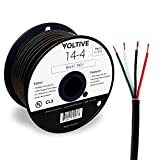 Voltive 14/4 Speaker Wire - 14 AWG/Gauge 4 Conductor - UL Listed in Wall (CL2/CL3) and Outdoor/In Ground (Direct Burial) Rated - Oxygen-Free Copper (OFC) - 100 Foot Spool - Black