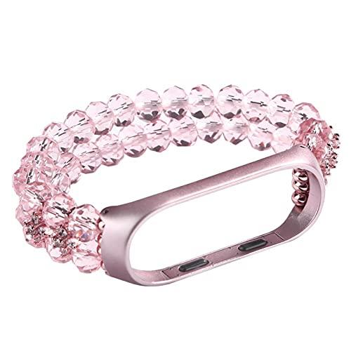 MI BAND 6/5 Pulsera para MI Banda 3 4 Correas de mujer Pulseras Bling Crystal Beaded Wedband MI5 MI6 MI4 MI3 Pulsera (Color : Pink, Size : MI Band 5 6)