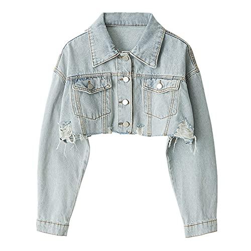 Chaqueta de mezclilla de mujer de manga larga casual suelta Outwear corto rasgado jeans chaqueta abrigo