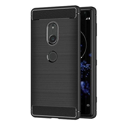 AICEK Sony Xperia XZ2 Hülle, Schwarz Silikon Handyhülle für Sony XZ2 Schutzhülle Karbon Optik Soft Hülle (5,7 Zoll)