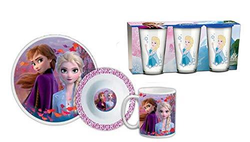 Die Eiskönigin Frozen 2 Frühstücksset (6-teilig) (2 Teller, Tasse, 3er Set Gläser)