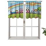 Hiiiman Cenefa corta recta, diseño de dibujos animados, diseño de animales, arco iris, cielo y sol, setas, juego de 2, 137 x 61 cm para ventanas de cocina