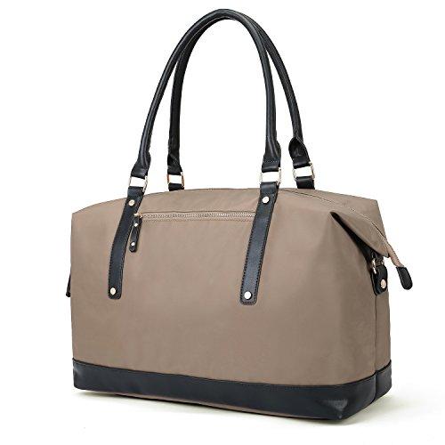 ECOSUSI Weekender Damen Reisetasche Nylon 27L für den Flugzeug Handgepäck Herren Sporttasche mit Abnehmbarem Schulterriemen Schwarz