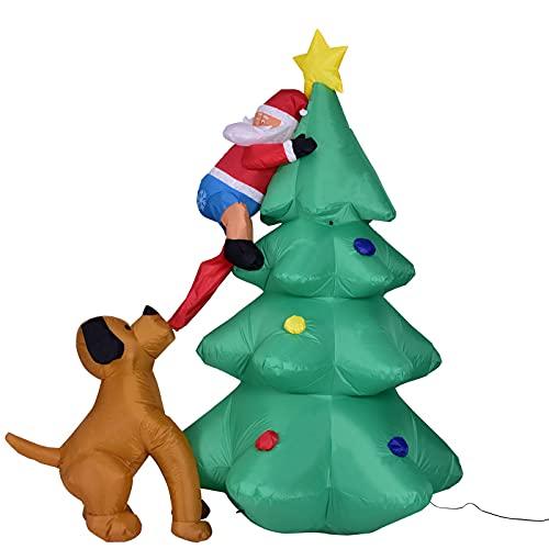 Árbol de Navidad de Perro Inflable Hombre Viejo 180cm / 70.9in LED Light Home Home Outdoor Garden Yard Navidad Propor Decoración Año Nuevo Suministros,1PC