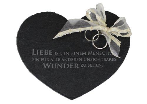 condecoro Ringkissen Herz aus Schiefer - Traukissen Eheringe Kissen Kirche Standesamt Hochzeit
