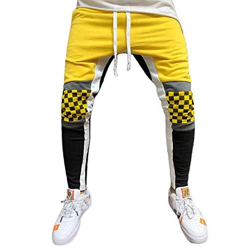 YEBIRAL Herren Hose Jogger Tartan Patchwork Sweat-Pants Jogginghose Sporthose Fit Männer Fitnesshose Trainingshose Hiphop Streetwear Hosen Mode Mann Freizeithose(M,Gelb)