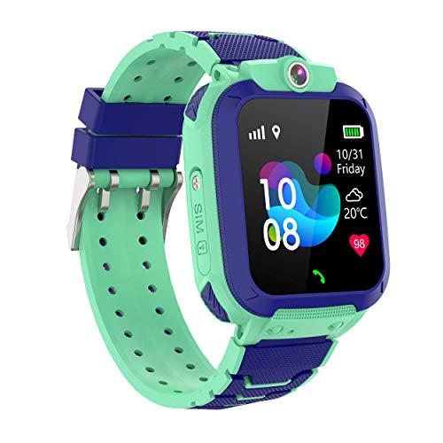 Reloj Inteligente Impermeable para niña, GPS Tracker Kids SOS Alarma Anti-Lost, Chat de Voz, cámara, Juegos, Smart Watch Phone para niños de 3-12 años compatibles con iOS/Android