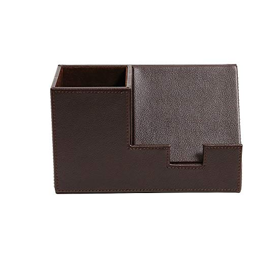 Staples 2741548 Pencil Cup with Cell Phone Holder Faux Leather Brown
