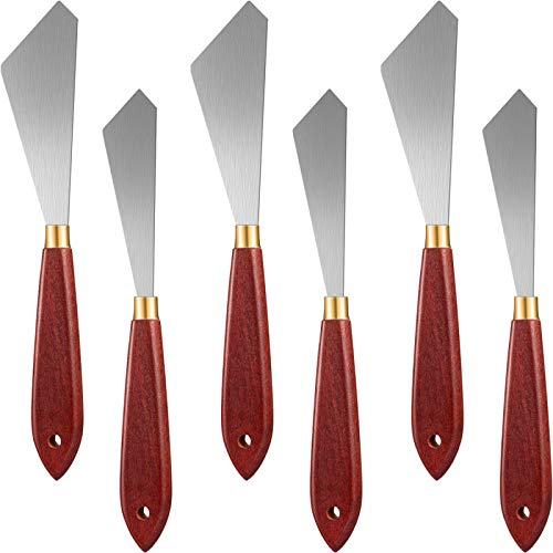 6 Pieces Painting Scraper Knife Stainless Steel Painting Mixing Scrapers Palette Painting Knife Oil Paint Knife with Wood Handle for Oil Painting Art Tool