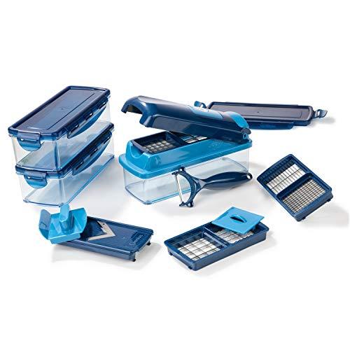 Genius Nicer Dicer Smart (14 tlg.) in blau - Gemüse-schneider für Würfel, Stifte, Scheiben, Streifen und Viertel inkl. Rezeptheft - Salatschneider Mandoline Gurkenhobel