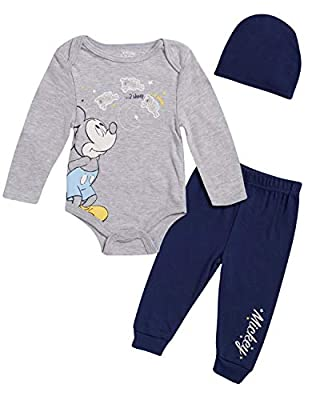 Disney Newborn Baby Boys Mickey Mouse 3-Piece Bodysuit Pant Set with Matching Beanie Hat, Size 0-3 Months, Heather Grey/Navy Mickey