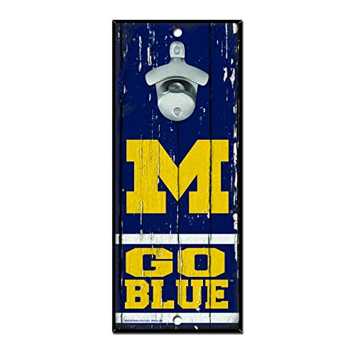 WinCraft NCAA Michigan Wolverines 5x11 Wood Sign Bottle Opener, Team Colors, 5