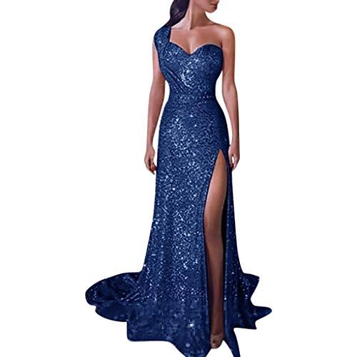 riou Vestido De Fiesta De Noche para Las Mujeres Baile de Lentejuelas Mujer Vestido Largo Sexy de Dama de Honor de Oro con Cuello en V Faldas Atractivas de Noche