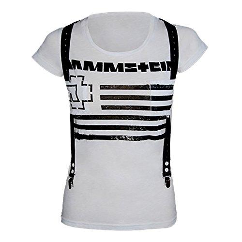 Rammstein Rammstein Damen T-Shirt Suspender Offizielles Band Merchandise Fan Shirt weiß mit schwarzem Front und Back Print -S