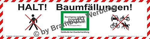 PrintGreen! Absperrbanner für Forstbetrieb, Holzrücker, Baumfällung, Waldarbeiten gemäß Deutschem Wald Gesetz