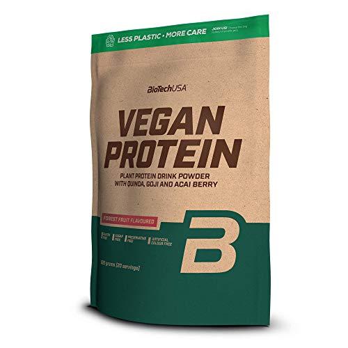 BioTechUSA Vegan Protein En polvo con sabor bebida a base de proteína vegetal, con bayas goji y acai en polvo, harina de quínoa, 500 g, Frutas del bosque 🔥