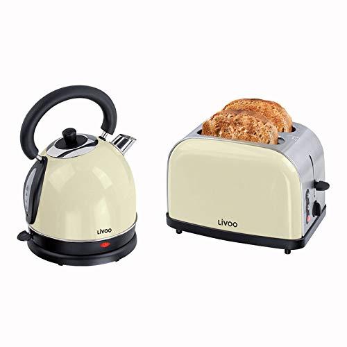 Frühstücksset Toaster Wasserkocher Vintage - Wasserkessel Retro Elektrisch Beige 1,8 Liter 1800 Watt - 2 Scheiben Toaster Edelstahl 900 Watt Thermostat 5 Stufen