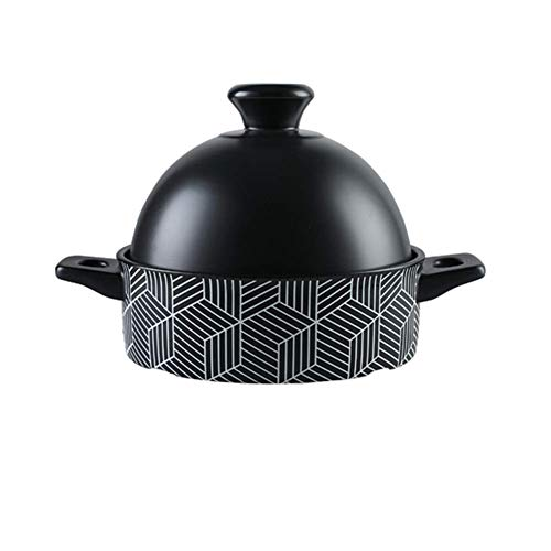 Moroccan Tagine Pot With Red Lid,ceramic Casserole Steamer Braiser Pan Healthy Saucepan Earthen Pot For Braising Slow Cooking Black 1.37quart
