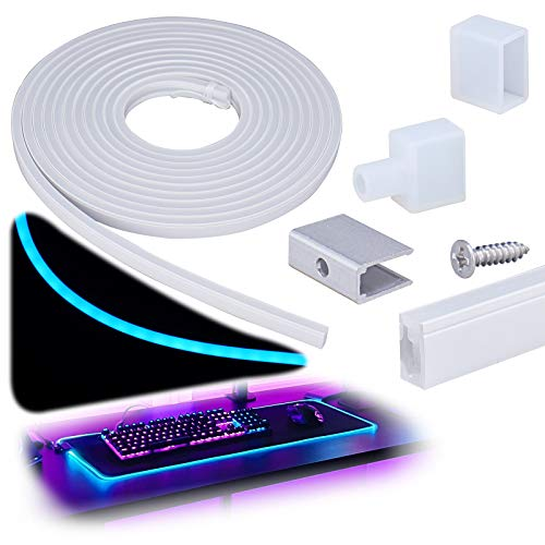 Muzata Silicone LED Channel System, Spotless Flexible Tube for DIY Neon Light Box Enclosed IP67 Water & Dust Proof for 8mm Bendable LED Strip Cabinet Shelves 16.4Ft/ 5M USC3