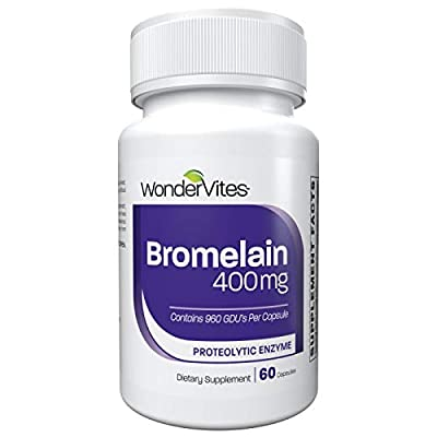 WonderVites Bromelain Proteolytic Enzyme Supplement 2,400 GDU - 400 mg, Containing High Potency Proteolytic Enzymes, Supports Digestive Health, Inflammation Support, Non-GMO, 60 Vegetable Capsules