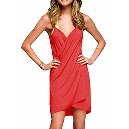 TTD Damen V-Ausschnitt langes Kleid Sommer Strand Wickelkleid Bademantel Handtuch Travel Spa Swim