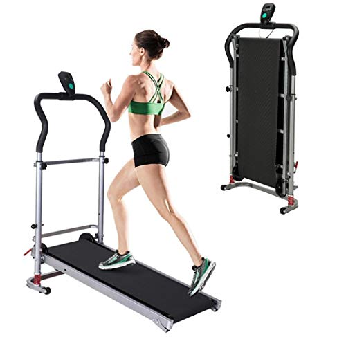 Yinguo Folding Incline Treadmill, Portable Manual Treadmill, Adjustable Mechanical Running Jogging Walking Exercise Machine with LED Display for Men Women Lose Weight Home Gym Cardio Fitness Workout