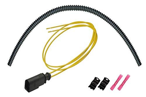 OEM 1J0973802 / 1J0 973 802 konfektionierter 2-pol. Steckverbinder Stift, Reparatursatz m. Wellrohr/Endstücke