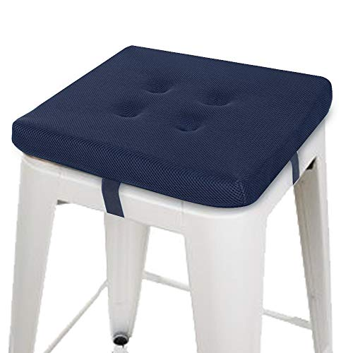 """baibu Square Chair Pads, Super Breathable Stool Cushions Square Seat Cushions - One Pad Only (12"""", Navy Blue Velcro)"""
