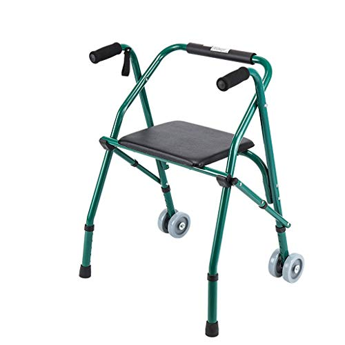 OCYE Opvouwbare rollator met zwenkwielen en stoelen, lichtgewicht medisch loopframe voor ouderen, verstelbare hoogte, geschikt voor ouderen en gehandicapten