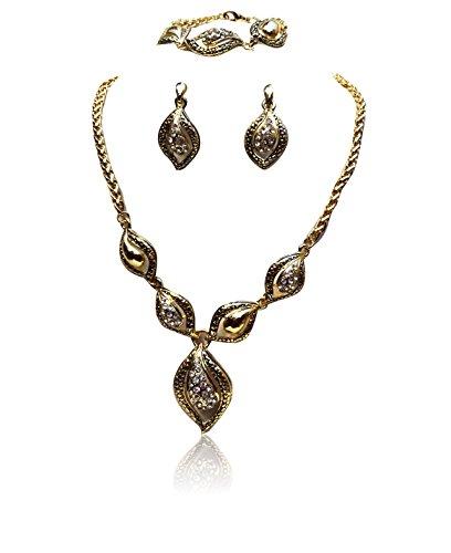 Neues Design Shell Form Gold Schönen Speiseteller Party Halskette Ohrring Schmuck Set