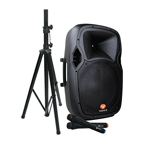 VOYZ 1000 Watt Bluetooth Speaker System Battery Powered Rechargeable, Two Way 15' Portable Loudspeaker USB, SD, and MP3 Player, Tripod Stand and 2 Wireless Microphones Perfect for Karaoke (VZ-AB515-P)
